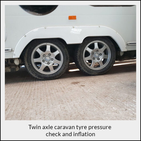 Twin Axle Caravan Tyre Pressure Check and Inflation